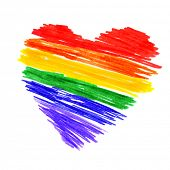 stock photo of same sex  - a rainbow heart on a white background - JPG
