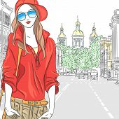 stock photo of sankt-peterburg  - Vector fashionable attractive girl in red blouse cap and glasses in the street in St - JPG
