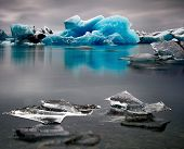 Blue Iceberg landscape Iceland at Joulsarlon glacier lagoon drifting pack ice due to melting caused