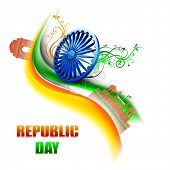 pic of ashoka  - Happy Indian Republic Day concept with stylish Ashoka Wheel on national flag colors wave background - JPG