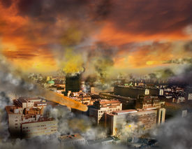 stock photo of doomsday  - Apocalypse doomsday meteor storm in the city - JPG