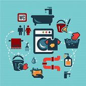 stock photo of laundromat  - Cleaning  Icons Set in Flat Design Style - JPG