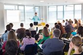 stock photo of speaker  - Speaker at Business convention and Presentation - JPG