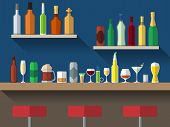 stock photo of stool  - Bar counter with stools and alcohol drink on shelves flat vector illustration - JPG