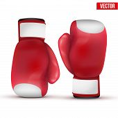 stock photo of knockout  - Boxing gloves isolated on white background - JPG