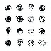 stock photo of planet earth  - Globe black and white earth world globe symbol icons set vector illustration - JPG