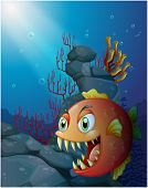 picture of piranha  - Illustration of a scary piranha under the sea near the rocks on a white background - JPG