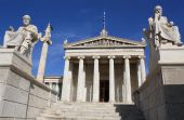 stock photo of socrates  - Neoclassical Academy of Athens in Greece showing main building and statues of ancient Greek philosophers Plato  - JPG