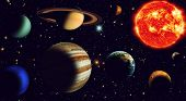 image of uranus  - The sun and nine planets of our system orbiting - JPG