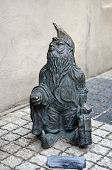 stock photo of gnome  - Statue of gnome in the street of Wroclaw Poland - JPG
