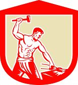picture of anvil  - Illustration of a blacksmith worker with sledgehammer striking at anvil set inside crest shield done in retro style - JPG