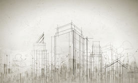 image of sketche  - Background conceptual image of construction sketch plan - JPG