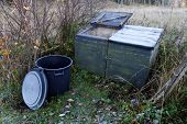 stock photo of decomposition  - Compost station for gardening waste a cold morning in the autumn - JPG