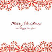 pic of candy cane border  - Christmas candies isolated on white background illustration - JPG