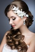 pic of grey-haired  - Portrait of a beautiful woman in a wedding dress in the image of the bride - JPG