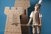 image of berserk  - photo of the boy in medieval knight costume made of cardboards - JPG