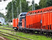 image of track home  - Locomotive on a track maneuvering at a slow speed - JPG