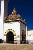 stock photo of senora  - Small chapel beside the Basilica of Our Lady of Copacabana in the small tourist town of Copacabana along Lake Titicaca in Bolivia - JPG