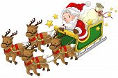 picture of sleigh ride  - Santa Claus on a reindeer sleigh in Christmas in white isolated background create by vector - JPG