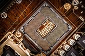 picture of processor socket  - Modern socket motherboard for a home computer - JPG