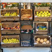 pic of stall  - Organic Fruit on Display on a Street Market Stall - JPG