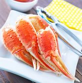 picture of cooked blue crab  - boiled crab claws on the white plate - JPG