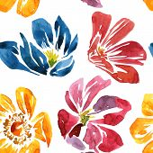 stock photo of garden-art  - vector seamless pattern with watercolor drawing flowers - JPG