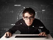 image of personal safety  - Young hacker in futuristic enviroment hacking personal information on tech background - JPG