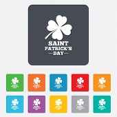 stock photo of saint patrick  - Clover with four leaves sign icon - JPG