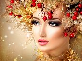 stock photo of beautiful lady  - Christmas Winter Fashion Model Girl with golden hairstyle and make up - JPG