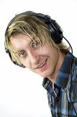 Male Listens To Music Happy