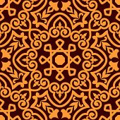 picture of arabic  - Bold intricate arabic seamless pattern with a central orange motif on brown in a busy vector pattern in square format - JPG
