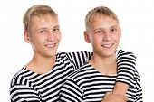 foto of conscript  - Portrait of two twin brothers - JPG