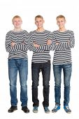 stock photo of conscript  - Guys in a striped shirts with arms crossed - JPG