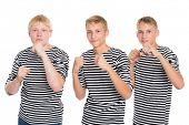 stock photo of conscript  - Young men in striped shirt standing in a pose of a boxer - JPG
