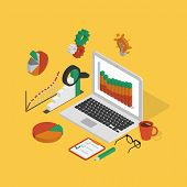 stock photo of isometric  - Isometric illustration of analytics process with laptop on yellow background - JPG