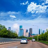 picture of bayou  - Houston skyline from Buffalo Bayou Pkwy Texas US USA - JPG