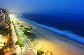 pic of ipanema  - Night view of Ipanema beach after sunset sea with fog from the sea on the background Rio de Janeiro Brazil - JPG