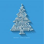 image of circuits  - Vector christmas tree from digital electronic circuit on blue background with long shadow - JPG