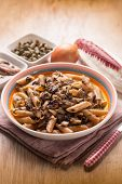 picture of chicory  - macaroni with red chicory anchovy and capers - JPG