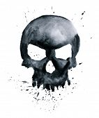 image of skull bones  - watercolor black skull with splashes - JPG