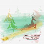 stock photo of reining  - Season greeting card with rein deer in watercolor style - JPG
