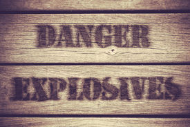 pic of fragile sign  - A Retro Grungy Crate Labelled With Danger Explosives - JPG