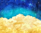 foto of puffy  - puffy clouds and a blue sky with twinkling stars done with a texture overlay of grunge - JPG