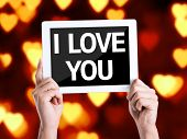 image of bff  - Tablet pc with text I Love You with heart bokeh - JPG