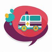 image of ambulance car  - Ambulance Car Flat Icon With Long Shadow - JPG