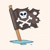 pic of skull crossbones flag  - Pirate Flags Theme Elements - JPG