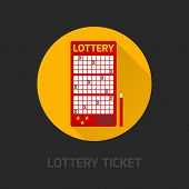 stock photo of lottery winners  - Prepaid lottery games card for numbers selecting symbol with instant results advertising poster flat abstract vector illustration - JPG