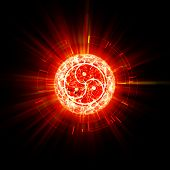 stock photo of triskelion  - Fire bdsm sign abstract with red rays outside - JPG