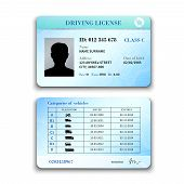 pic of designated driver  - Realistic international plastic driver licence back and front template isolated vector illustration - JPG